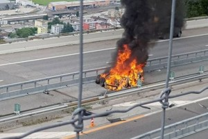 Tesla electric vehicle crashed into a guardrail & exploded into flames